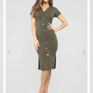Fashion Nova ribbed dress with buttons